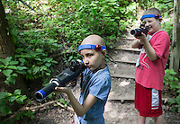 Gretna, Nebraska --<br /> <br /> Daisy Anguiano, left, and Carter Bretey play laser tag during camp CoHoLo held at the Eastern Nebraska 4-H Center on Monday, July 25, 2016, in Gretna. Camp CoHoLo gives children with cancer and blood disorders the experience of summer camp. CoHoLo is an acronym for Courage, Hope and Love.<br /> <br /> MATT DIXON/THE WORLD-HERALD