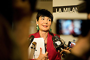 "Elisabetta Sgarbi, creator and director of La Milanesiana, giving an interview at the press conference of presentation of the fourteenth edition of La Milanesiana, Milan, May 8, 2013. La Milanesiana is a festival of literature, music, cinema, science, art, philosophy and theatre, this year the festival has as a guideline, the secret. © Carlo Cerchioli..Elisabetta Sgarbi, ideatrice e direttore de La Milanesiana, mentre rilascia un intervista alla conferenza stampa di presentazione della quattordicesima edizione de La Milanesiana, Milano, 8 maggio 2013. La Milanesiana è un festival di letteratura, musica, cinema, scienza, arte, filosofia e teatro; quest'anno il suo tema conduttore è ""il segreto""."