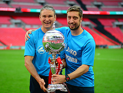 BRACKLEY MANAGER KEVIN WILKIN AND ASSISTANT MANAGER MARK NOON,  The Buildbase FA Trophy Final Brackley Town v Bromley Wembley Stadium Sunday 20th May 2018