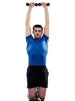 man doing workout with weight on white isolated background