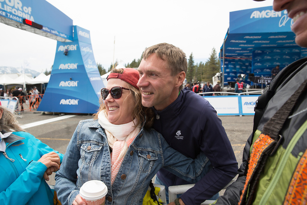 Former professional cyclist Jens Voigt socializes with fans Thursday, May 19, 2016 during stage five of the Amgen Tour of California in South Lake Tahoe, Calif.