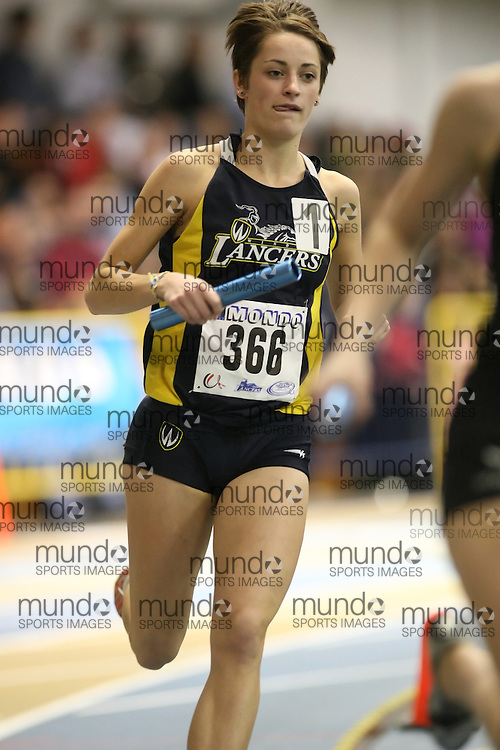 Windsor, Ontario ---13/03/09--- Raeleen Hunter of  the University of Windsor Lancers competes in the 4x800m Relay at the CIS track and field championships in Windsor, Ontario, March 13, 2009..Sean Burges Mundo Sport Images