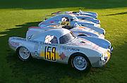 Image of vintage Porsche 550 Prototypes, 1953 Porsche 550-03, 1953 Porsche 550-04, 1953 Porsche 550-01 at the Porsche Race Car Classic, Quail Lodge, Carmel, California, America west coast.