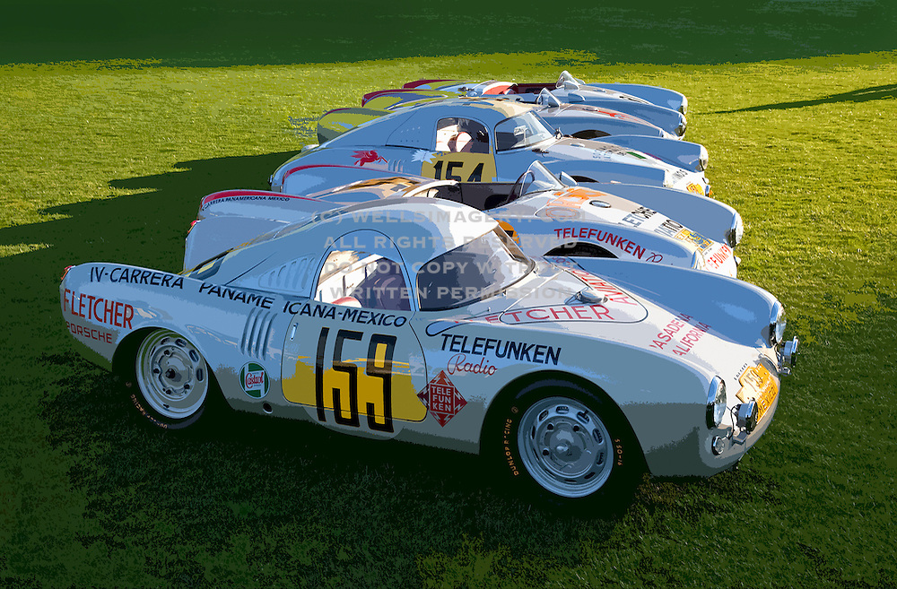Image of vintage Porsche 550 Prototypes, 1953 Porsche 550-03, 1953 Porsche 550-04, 1953 Porsche 550-01 at the Porsche Race Car Classic, Quail Lodge, Carmel, California, America west coast.