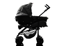 one stroller prams baby carriage silhouette on white background