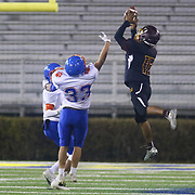 Milford wide receiver TYRON MIFFLIN (15) catches a 10 year reception during the 2017 DIAA Division II state championship game between the Delmar and Milford Saturday, Dec. 02, 2017 at Delaware Stadium in Newark, DE.