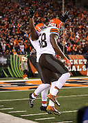 Cleveland Browns inside linebacker Chris Kirksey (58) leaps and celebrates with Cleveland Browns inside linebacker Craig Robertson (53) after Robertson intercepts a first quarter pass and returns it to the Cincinnati Bengals 18 yard line during the NFL week 10 regular season football game against the Cincinnati Bengals on Thursday, Nov. 6, 2014 in Cincinnati. The Browns won the game 24-3. ©Paul Anthony Spinelli