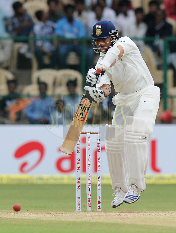 Sachin Tendulkar of India bats during day four of the second test match between India and New Zealand held at the M. Chinnaswamy Stadium, Bengaluru on the 3rd September 2012..Photo by Pal Pillai/BCCI/SPORTZPICS.