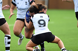 Rhiannon Parker of Bristol Bears Women intercepts a Dragons opponent - Mandatory by-line: Paul Knight/JMP - 02/09/2018 - RUGBY - Shaftsbury Park - Bristol, England - Bristol Bears Women v Dragons Women - Pre-season friendly
