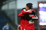 Celebrations as Swindon score during the Sky Bet League 1 match between Chesterfield and Swindon Town at the Proact stadium, Chesterfield, England on 28 November 2015. Photo by Aaron Lupton.