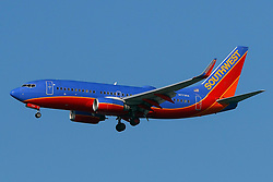 Boeing 737-7BD (N7736A) operated by Southwest Airlines on approach to San Francisco International Airport (KSFO), San Francisco, California, United States of America