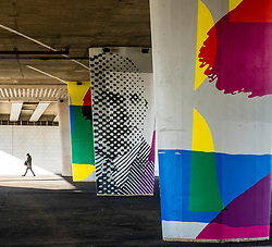 Murals painted on columns of highway flyover in Dundee, Scotland, United Kingdom