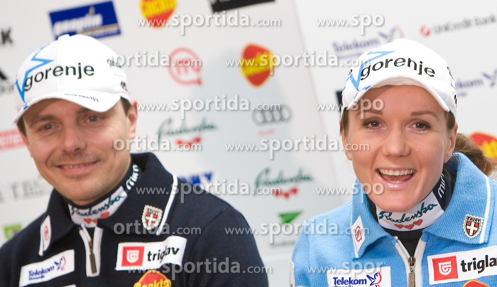 Coach Ivan Hudac and skier Petra Majdic at press conference of Slovenian Ski Federation after she placed second at cross-country Tour de Ski Tournee, on January 11, 2010 in SZS, Ljubljana, Slovenia.  (Photo by Vid Ponikvar / Sportida)