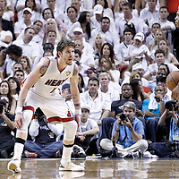 21 June 2012: Miami Heat shooting guard Mike Miller (13) defends on Oklahoma City Thunder point guard Russell Westbrook (0) during the Miami Heat 121-106 victory over the Oklahoma City Thunder, in Game 5 of the 2012 NBA Finals, at the AmericanAirlinesArena, Miami, Florida, USA. The Miami Heat wins the series 4-1.