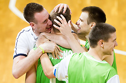 Gezim Morina of Slovenia, Matej Rojc of Slovenia, Jaka Brodnik of Slovenia celebrate after winning the basketball match between National teams of Turkey and Slovenia in Qualifying Round of U20 Men European Championship Slovenia 2012, on July 17, 2012 in Domzale, Slovenia. Slovenia defeated Turkey 72-71 in last second of the game. (Photo by Vid Ponikvar / Sportida.com)