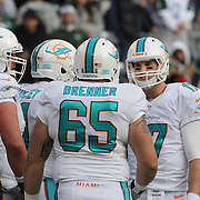 Miami Dolphins quarterback Ryan Tannehill talking with his offense during the New York Jets Vs Miami Dolphins  NFL American Football game at MetLife Stadium, East Rutherford, NJ, USA. 1st December 2013. Photo Tim Clayton
