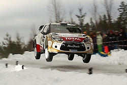 12.02.2015, Raga, Karlstad, SWE, FIA, WRC, Schweden Rallye, im Bild Mads Ostberg/Jonas Andersson (Citroen Total Abu Dhabi WRT/DS3 WRC) // during the WRC Sweden Rallye at the Raga in Karlstad, Sweden on 2015/02/12. EXPA Pictures © 2015, PhotoCredit: EXPA/ Eibner-Pressefoto/ Bermel<br /> <br /> *****ATTENTION - OUT of GER*****