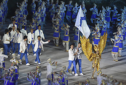 JAKARTA, Aug. 18, 2018  Delegation of the Democratic People's Republic of Korea (DPRK) and South Korea march together under a unified flag of the Korean Peninsula during the opening ceremony of the 18th Asian Games at Gelora Bung Karno (GBK) Main Stadium in Jakarta, Indonesia, Aug. 18, 2018. (Credit Image: © Pan Yulong/Xinhua via ZUMA Wire)