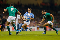 Argentina Winger Santiago Cordero is challenged by Ireland Full Back Rob Kearney and Winger Dave Kearney - Mandatory byline: Rogan Thomson/JMP - 07966 386802 - 18/10/2015 - RUGBY UNION - Millennium Stadium - Cardiff, Wales - Ireland v Argentina - Rugby World Cup 2015 Quarter Finals.