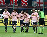 Milano 17/8/2003<br />Trofeo Berlusconi<br />Milan - Juventus 0-2<br />Mauro Camoranesi complimentato dai compagni dopo il gol dello 0-2.<br />Mauro Camoranesi celebrated by his teammates after his goal of 0-2<br />Foto Andrea Staccioli Graffiti