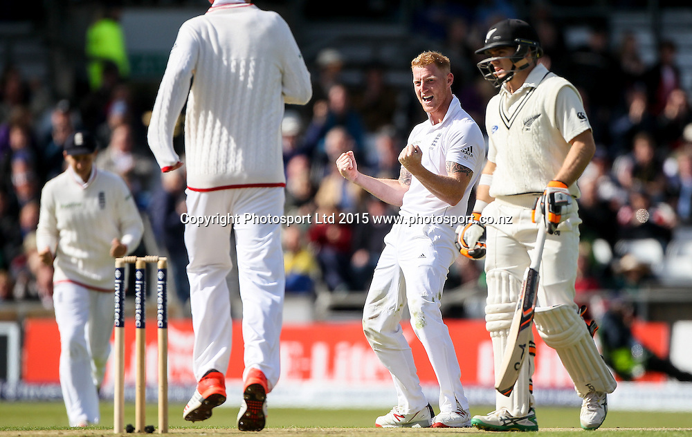 Picture by Alex Whitehead/SWpix.com - 29/05/2015 - Cricket - 2nd Investec Test: England v New Zealand, Day 1 - Headingley Cricket Ground, Leeds, England - England's Ben Stokes celebrates the wicket of New Zealand's Brendon McCullum (caught Mark Wood).