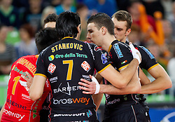 Dragan Stankovic, Alen Pajenk of Macerata celebrate during volleyball match between ACH Volley and Lube Banca Marche Macerata (ITA) in 5th Leg of Pool D of 2013 CEV Champions League on December 5, 2012 in Arena Stozice, Ljubljana, Slovenia. ACH defeated Macerata 3-1. (Photo By Vid Ponikvar / Sportida)