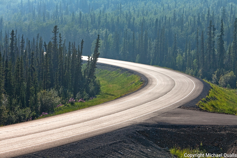 The Alaska Highway.  At Midway Lake in the Tetlin NWR south of Tok.  Tok, Alaska. USA.