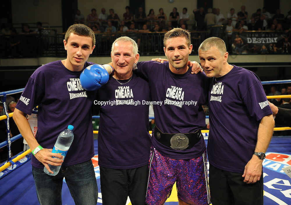 Steve O'Meara (with team) defeats Ryan Toms for The Southern Area Light-Middleweight Championship at York Hall, Bethnal Green, London on Friday 30th September 2011. Box Nation.tv's debut live TV Channel 456 on Sky. Photo credit: © Leigh Dawney. Queensberry Promotions.