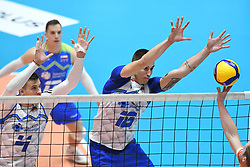 Klemen Cebulj and Jan Kozamernik od Slovenia during friendly volleyball match between National Men teams of Slovenia and Netherlands, on Januar 2nd, 2020, in Dvorana Tabor, Maribor, Slovenia. Photo by Miloš Vujinović / Sportida