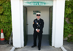 © Licensed to London News Pictures.16/07/15<br /> Harrogate, UK. <br /> <br /> A guard stands in the entrance to the President's Box on the final day of the Great Yorkshire Show.  <br /> <br /> England's premier agricultural show has seen three days of showcasing the best in British farming and celebrating the countryside.<br /> <br /> The event which attracts over 130,000 visitors each year displays the cream of the country's livestock and offers numerous displays and events giving the chance for visitors to see many different countryside activities.<br /> <br /> Photo credit : Ian Forsyth/LNP