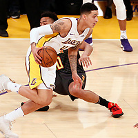 07 January 2018: Los Angeles Lakers forward Kyle Kuzma (0) drives past Atlanta Hawks forward John Collins (20) during the LA Lakers 132-113 victory over the Atlanta Hawks, at the Staples Center, Los Angeles, California, USA.