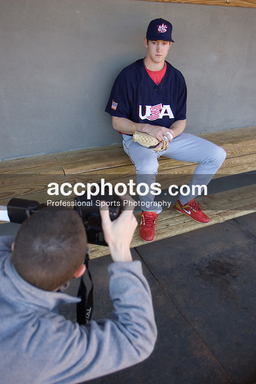 08 February 2007: North Carolina State Wolfpack RHP Andrew Brackman (40) during a shoot with USA Baseball at Doak Field in Raleigh, NC.