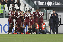 May 3, 2019 - Turin, Piedmont, Italy - Torino FC players celebrate after the goal of Sasa Lukic during the Serie A football match between Juventus FC and Torino FC at Allianz Stadium on May 03, 2019 in Turin, Italy..Final results: 1-1. (Credit Image: © Massimiliano Ferraro/NurPhoto via ZUMA Press)