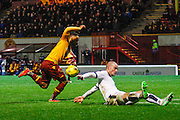 Motherwell FC Midfielder Lionel Ainsworth attacks the goal during the Ladbrokes Scottish Premiership match between Motherwell and Dundee at Fir Park, Motherwell, Scotland on 12 December 2015. Photo by Craig McAllister.