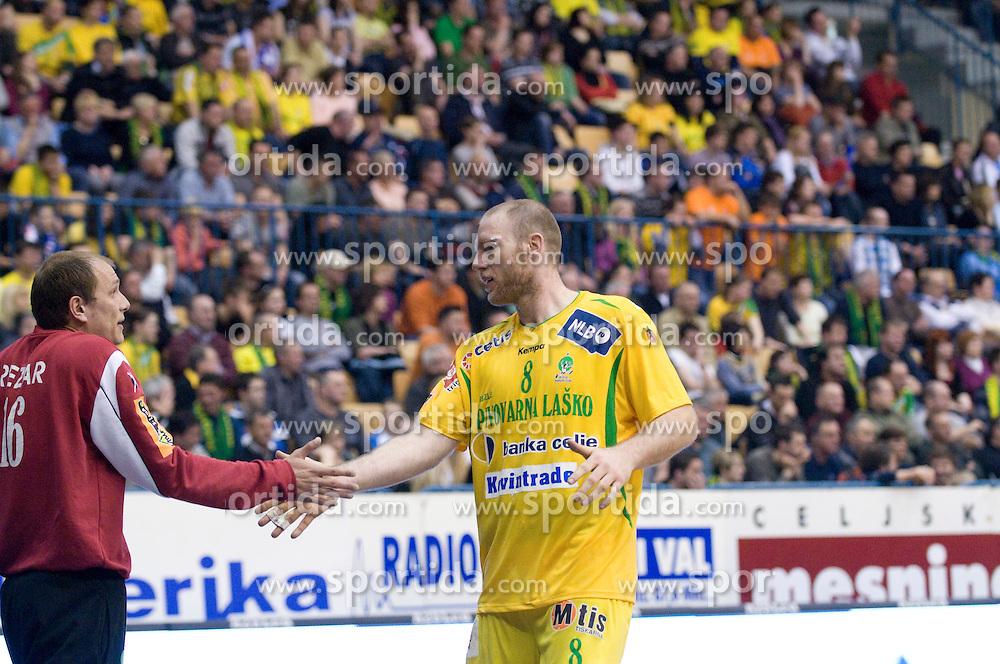 Aljosa Rezar and Ales Pajovic at handball quarter final EHF Cup match between RK Celje Pivovarna Lasko and SG Handewitt Flensburg, on April 3, 2010, Dvorana Zlatorog, Celje, Slovenia. Flensburg won 32:35. (Photo by Matic Klansek Velej / Sportida)
