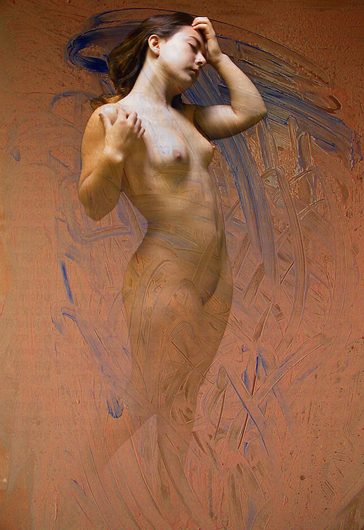 A young woman standing naked with brush strokes