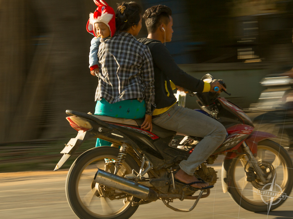 Typical family transport in Myanmar.