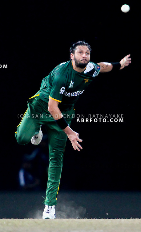 Shahid Afridi bowling during the ICC world Twenty20 Cricket held in Sri Lanka.