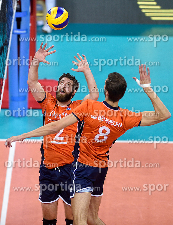Yannick van Harskamp #2, Bas van Bemmelen #8 during volleyball match between National teams of Netherlands and Slovenia in Playoff of 2015 CEV Volleyball European Championship - Men, on October 13, 2015 in Arena Armeec, Sofia, Bulgaria. Photo by Ronald Hoogendoorn / Sportida