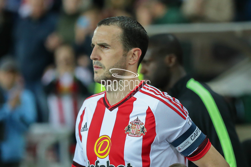Sunderland defender John O?Shea during the Capital One Cup match between Sunderland and Manchester City at the Stadium Of Light, Sunderland, England on 22 September 2015. Photo by Simon Davies.