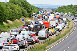 © Licensed to London News Pictures. 21/07/2017<br /> Traffic QUEUE HELL on the M25 all afternoon.SOME DRIVERS TRYING TO GET OFF AT J3.<br /> THE BACK OF THE QUEUING TRAFFIC Anti-clock wise at Junction 3 for Swanley Kent.<br />  Traffic is at a near standstill as the summer holiday getaway madness begins as the schools break up for the summer.<br /> Photo credit: Grant Falvey/LNP