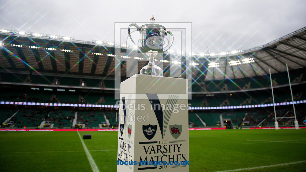 The trophy is seen on display before The Mens Varsity Match match at Twickenham Stadium, Twickenham<br /> Picture by Jack Megaw/Focus Images Ltd +44 7481 764811<br /> 10/12/2015