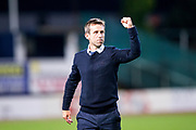 Dundee manager Neil McCann celebrates following Dundee's 2-1 victory over Dundee United during the Betfred Scottish Cup match between Dundee and Dundee United at Dens Park, Dundee, Scotland on 9 August 2017. Photo by Craig Doyle.