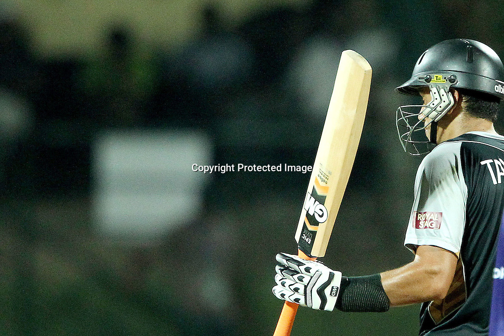 Ross Taylor (Captain) celebrates his fifty during the ICC World Twenty20 Super Eights match between The West Indies and New Zealand held at the  Pallekele Stadium in Kandy, Sri Lanka on the 1st October 2012<br /> <br /> Photo by Ron Gaunt/SPORTZPICS/PHOTOSPORT