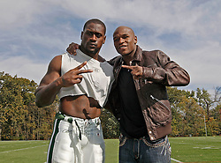 "October 8, 2009; Florham Park, NJ; USA; Floyd ""Money"" Mayweather (r) poses with New York Jets RB Thomas Jones in Florham Park, NJ."
