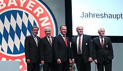30.11.2010, Olympiahalle, Muenchen, GER, 1.FBL, Jahreshauptversammlung FC Bayern, im Bild Karl Hopfner, Dr Fritz Scherer, Karl-Heinz Rummenigge (Vorstandsvorsitzender Bayern) Uli Hoeneß (Präsident Bayern) Bernd Rauch , EXPA Pictures © 2010, PhotoCredit: EXPA/ nph/  Straubmeier       ****** out ouf GER ******