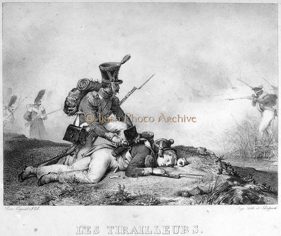 Skirmishers of the French Imperial Army. Lithograph 1828.
