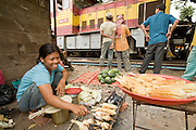 30 JUNE 2006 - PHNOM PENH, CAMBODIA: A vendor grills corn while a freight train pulls through the yards in the Phnom Penh train station. Hundreds of people live in the train station, some in abandoned train cars, others in small shacks near the tracks. While much of Cambodia's infrastructure has been rebuilt since the wars which tore the country apart in the late 1980s, the train system is still in disrepair. There is now only one passenger train in the country. It runs from Phnom Penh to the provincial capitol Battambang and it runs only one day a week. It takes 12 hours to complete the 190 mile journey.  Photo by Jack Kurtz / ZUMA Press