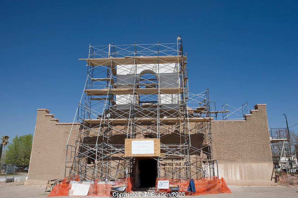 Recent reconstrustion of the Socorro Mission La Purisima in on the Mission Trail in El Paso, Texas.