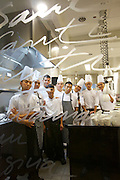 Singapore. Marina Bay Sands. SANTI restaurant combines Mediterranean culture with the authentic taste of the Catalan region in Spain..The Chefs at the kitchen.